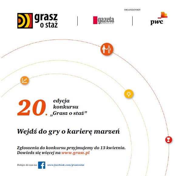 Trwa 20 edycja Grasz o staż - zgłoś swój udział do 13 kwietnia!