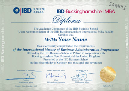 Tytuł International Master of Business Administration