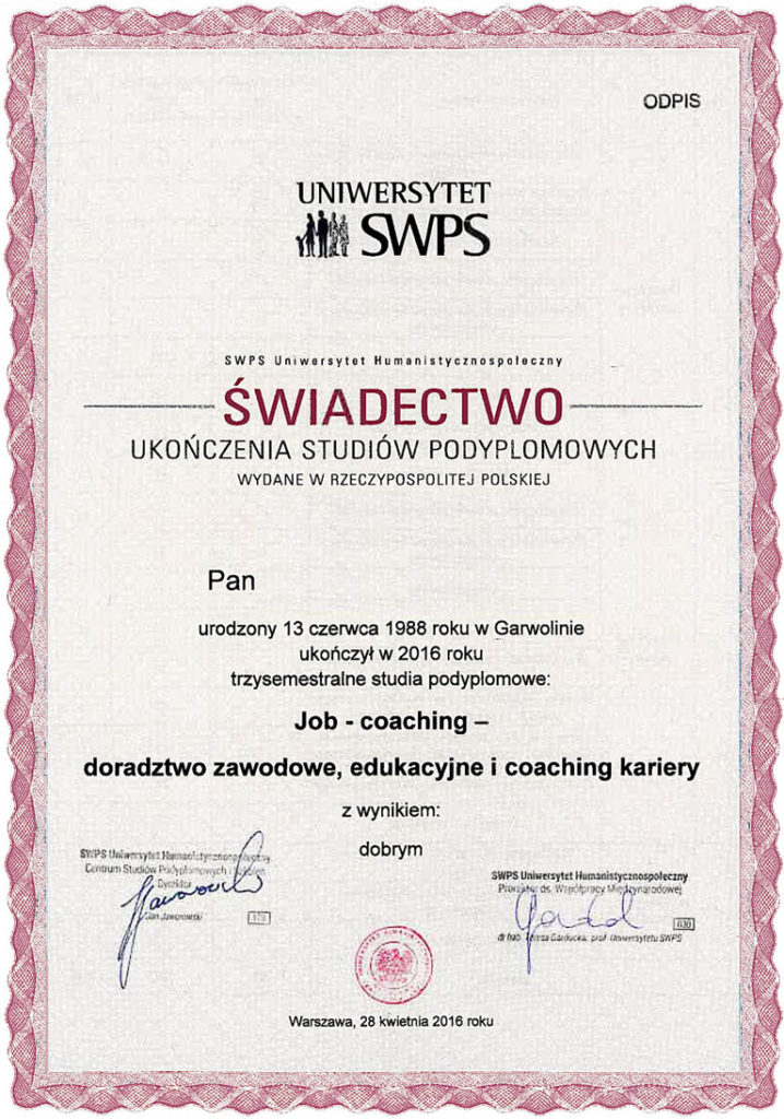 certyfikat MBA