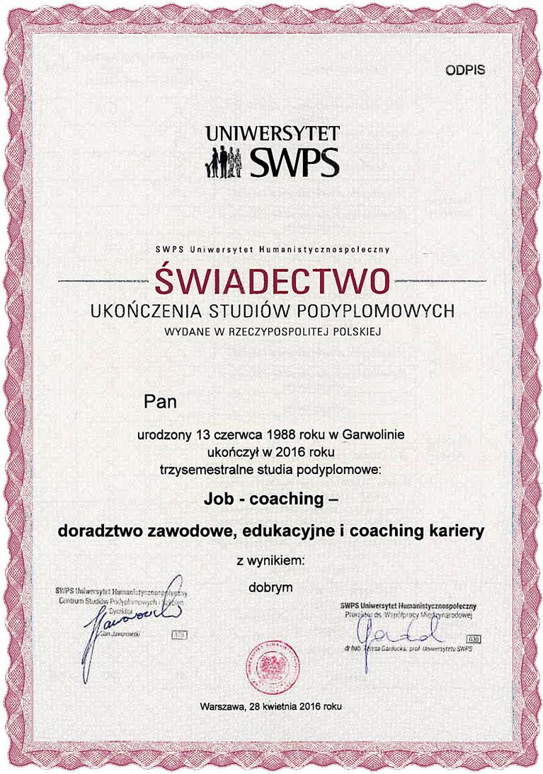 Dyplom Executive MBA i świadectwo ukończenia studiów podyplomowych SWPS