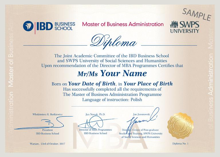 Dyplom MBA