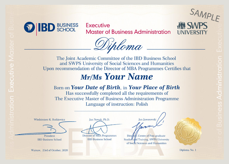 Dyplom Executive MBA